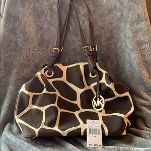 Michael Kors Giraffe Canvas Tote brown leather bag